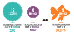 Human attention span in year 2000 was 12 seconds, now its 8 seconds. A goldfish is 9 seconds.